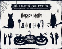 Hand drawn textured Halloween icons set. Hand drawn textured Halloween set of black cat, owl, candies, zombie hands, and jack-o-lanterns illustrations Stock Photos