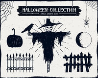 Hand drawn textured Halloween icons set. Royalty Free Stock Photos