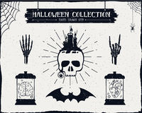 Hand drawn textured Halloween set. Royalty Free Stock Photos