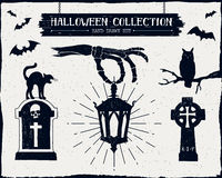 Hand drawn textured Halloween set. Stock Photography