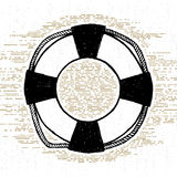 Hand Drawn Textured Icon With Life Buoy Vector Illustration Stock Photography