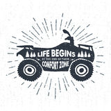 Hand drawn textured label with quad bike vector illustration Stock Photo