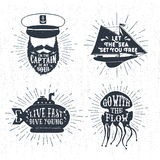 Hand drawn textured vintage badges set. Royalty Free Stock Photography