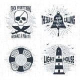 Hand drawn textured vintage badges set. Stock Images