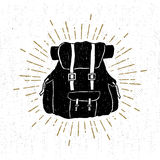 Hand drawn textured vintage icon with a backpack vector illustration Stock Photography