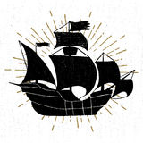 Hand drawn textured vintage icon with galleon ship vector illustration.  royalty free illustration