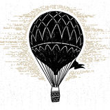 Hand drawn textured vintage icon with hot air balloon vector illustration Stock Photos