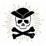 Hand drawn textured vintage icon with pirate skull vector illustration Royalty Free Stock Images