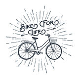 Hand drawn textured vintage label with bicycle vector illustration. Stock Images