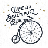 Hand drawn textured vintage label with bicycle vector illustration. Royalty Free Stock Images