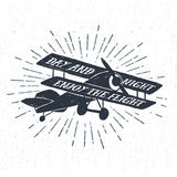 Hand drawn textured vintage label with biplane vector illustrati Royalty Free Stock Images
