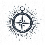 Hand drawn textured vintage label with compass rose vector illustration. Royalty Free Stock Images