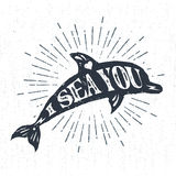 Hand drawn textured vintage label with dolphin vector illustration. Royalty Free Stock Images