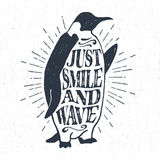 Hand drawn textured vintage label with emperor penguin vector illustration. Royalty Free Stock Photography
