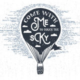 Hand drawn textured vintage label with hot air balloon vector illustration. stock illustration