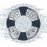Hand drawn textured vintage label with life buoy vector illustration. Royalty Free Stock Photos