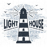 Hand drawn textured vintage label with lighthouse vector illustration. Hand drawn textured vintage label, retro badge with lighthouse vector illustration and Royalty Free Stock Image