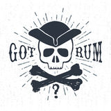 Hand drawn textured vintage label with pirate skull vector illustration. Royalty Free Stock Image