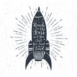 Hand drawn textured vintage label with rocket vector illustratio Royalty Free Stock Images