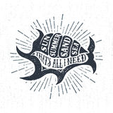 Hand drawn textured vintage label with shell vector illustration Stock Images