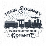 Hand drawn textured vintage label with steam train illustration. Royalty Free Stock Photos