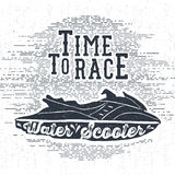 Hand drawn textured vintage label with water scooter vector Stock Images