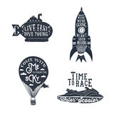 Hand drawn textured vintage labels set of travelling themed labe. Hand drawn textured vintage labels set with hot air balloon, submarine, rocket, and water Royalty Free Stock Image