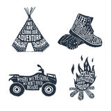 Hand drawn textured vintage labels set of travelling themed labe. Hand drawn textured vintage labels set with teepee, boots, quad bike, and bonfire vector Stock Image