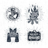 Hand drawn textured vintage labels set of vector illustrations. Royalty Free Stock Photos