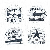 Hand drawn textured vintage labels set with vector illustrations