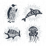 Hand drawn textured vintage labels set with vector illustrations Royalty Free Stock Photos