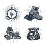 Hand drawn textured vintage labels set of vector illustrations. Royalty Free Stock Photo