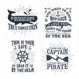 Hand drawn textured vintage labels set with vector illustrations. Hand drawn textured vintage labels set with whale, steering wheel, hooks vector illustrations Royalty Free Stock Photos