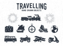 Hand drawn textured vintage travel icons set. Stock Image