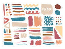 Hand drawn textures and brushes with ink colorful. Vector elements. Isolated fashion collection Stock Photography