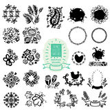 Hand-drawn textures, frames, brushes, swatches. Royalty Free Stock Photo