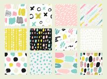 Collections of colorful seamless pattern. Hand Drawn textures made with ink. Isolated. Vector Illustration. Pastel hand drawn texture Stock Images