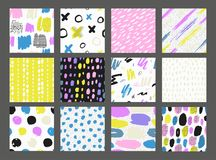 Collections of colorful seamless pattern. Hand Drawn textures made with ink. Isolated. Vector Illustration. Pastel hand drawn texture Stock Image