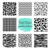 Hand drawn textures. Scribble squiggle ink pen seamless vector scratchy endless backgrounds Royalty Free Stock Images