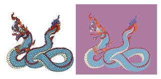 Hand drawn Thai Dragon on water, Line Thai is Thailand Style and Tattoo design. The naga vector Stock Images