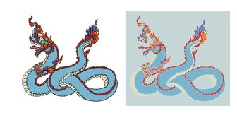 Hand drawn Thai Dragon on water, Line Thai is Thailand Style and Tattoo design. The naga vector Royalty Free Stock Images