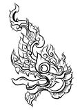 Hand drawn Thai Dragon on water, Line Thai is Thailand Style and Tattoo design. The naga vector Royalty Free Stock Photo