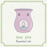 Hand drawn Thai massage and spa design elements. Stock Photo