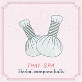 Hand drawn Thai massage and spa design elements. Royalty Free Stock Images