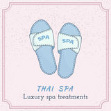 Hand drawn Thai massage and spa design elements. Royalty Free Stock Photos