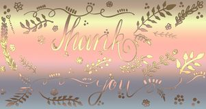 Hand drawn Thank you card calligraphy design. Vibrant glittering design. Bokeh falling for Cards, Artwork, greetings. Thank you card calligraphy design. Vibrant royalty free stock photography