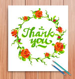 Hand drawn thank you card. Typography and royalty free illustration