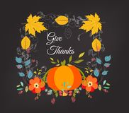 Hand drawn thanksgiving greeting card with leaves, pumpkin Stock Image