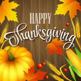 Hand drawn thanksgiving greeting card with leaves Stock Photo