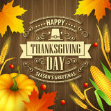 Hand drawn thanksgiving greeting card with leaves Stock Photography